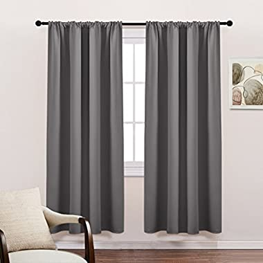 PONY DANCE Gray Blackout Curtains Window Panels - Rod Pocket Window Treatments Light Blocking Drapes Thermal Insulated Privacy Protect for Living Room by, 42  Wide by 72  Long, 2 Panels