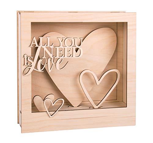 Rayher Kit BRIC.Legno cornici Motivi 3D, FSCMix, Naturale, 24x24x6,3cm, all.Love, Box 1set