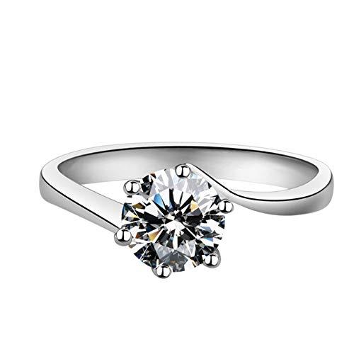 KnBoB 925 Silber Ring für Damen 6 Zacken Weiß Rund 0.5ct Erstellt Diamant Verlobungsring Fasion Größe 58 (18.5)