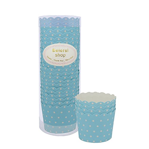 Beiersi Point d'onde Paper Cake Cup Cupcake Cases Liners Muffin Cuisine Baking Wedding Party Bake The Cake Cup 24pcs (Bleu Clair)