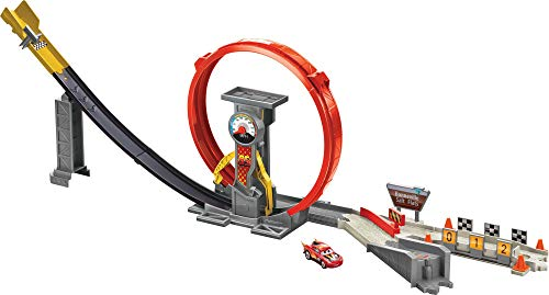 Disney Pixar Cars XRS Rocket Racing Super Loop Toy Race and Stunt Set with Lightning McQueen Vehicle Flame Exhaust Spinning Feature, Great Kids Movie Gift Play Set Ages 4 and Up