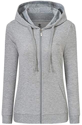 MoFiz Sudadera con capucha de algodón con cremallera para mujer y manga larga con bolsillos