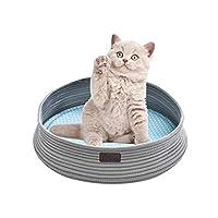 XAZTY ペット用品、猫犬小屋猫砂フォーシーズンズユニバーサルペットの巣マット小型犬ラウンド織ロープペット巣 (Color : Gray)