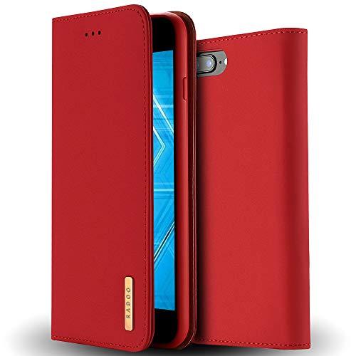 Radoo iPhone 8 Plus Lederhülle,iPhone 7 Plus Hülle, Premium Echtes Leder Klapphülle Slim Lederhülle TPU Innenraum Hülle Schlanke Ledertasche Handyhülle für Apple iPhone 8 Plus/iPhone 7 Plus (Rot)