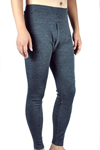 100% Merino Wool Men's Midweight Base Layer Thermal Underwear Bottoms Pants Long John (XXL, Charcoal Gray)