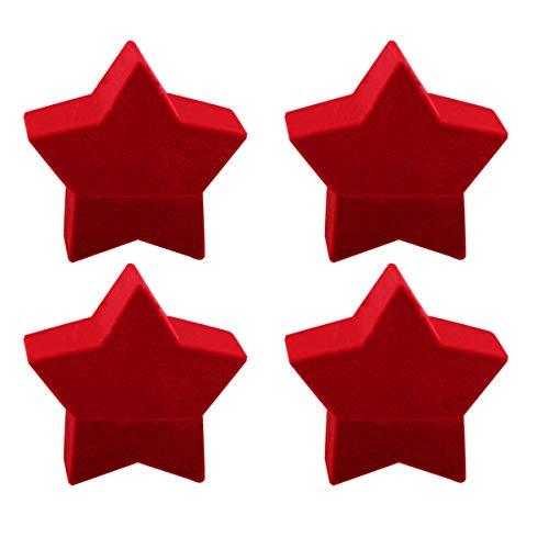 ifundom Decoraciones de Navidad 4 unids rojo creativo Pentagrama forma joyería caso collar pendiente anillo contenedor caja de embalaje de Navidad titular