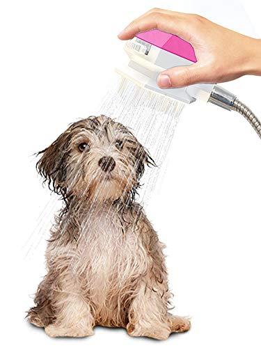 ZONSUSE Rociador de Ducha para Gatos/Perros, Herramienta de Baño para Mascotas, Rociador de Ducha para Mascotas y depurador 2 en 1 para Uso en Interiores y Exteriores (Rosado)