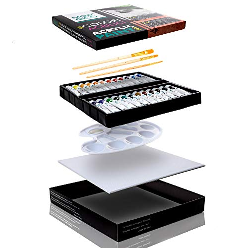 Colori Acrilici Professionali - Box con 24 Tubetti da 12 ml reali 3 Pennelli con Manico in Legno 1 Tela per Dipingere e 1 Tavolozza - Vernici Ricche di Pigmenti Vivaci e Fluidi per Pittori e Hobbisti
