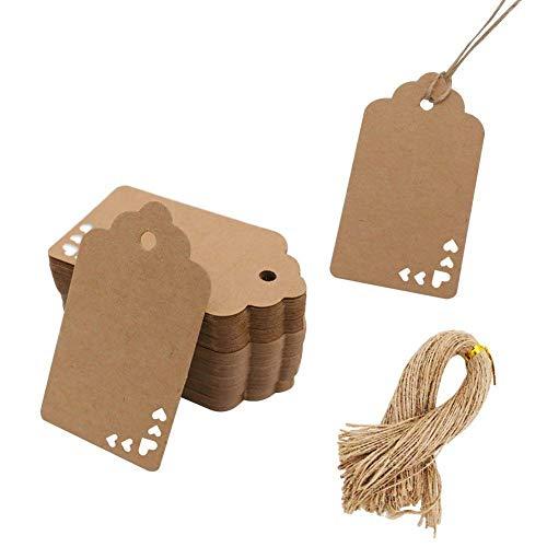 HAKACC Kraftpapier Anhänger mit Klein Herz, 100 Stk. Geschenkanhänger Etiketten Kraftpapier Tags mit Jute Schnur für Hochzeit Geschenk Weihnachten