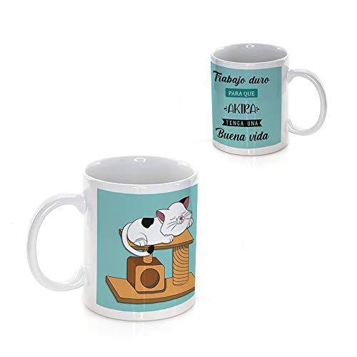 Taza PERSONALIZADA con Nombre y con Diseño CAT · Tazas de Ceramica a Todo Color (360º alrededor de la Taza) de 350 ml · Taza para Amantes de los Gatos · Resistente Lavavajillas y Microondas