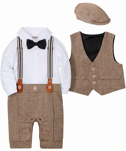 SANMIO Baby Jungen Bekleidung Set, Taufe Junge 3tlg with Fliege + Weste + Hut Gentleman Langarm Anzug Outfit für Festlich Geburtstag Hochzeit,7-10 Monate(Körpergröße 70),Braun