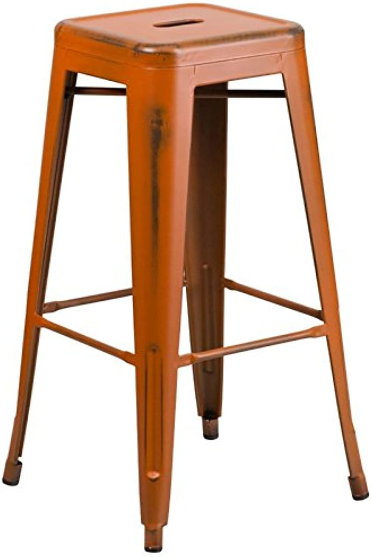 Bowery Hill 30  Metal Bar Stool in Distressed orange