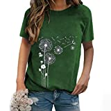 LUDAY Women's Basic Short Sleeve T-Shirt Summer Casual O-Neck Dandelion Printed Loose T-Shirt Tops Blouse