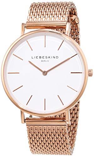 LIEBESKIND BERLIN Unisex Erwachsene Analog Quarz Uhr mit Edelstahl Armband LT-0155-MQ, IP Roségold-Weiß