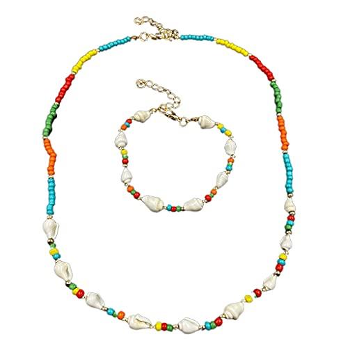 Conjunto de collar y pulsera de concha de perlas Adecuado para mujeres niñas Collares de perlas de colores hechos a mano Collar de Bohemia Collares bohemios para mujeres Gargantilla de perlas joyería