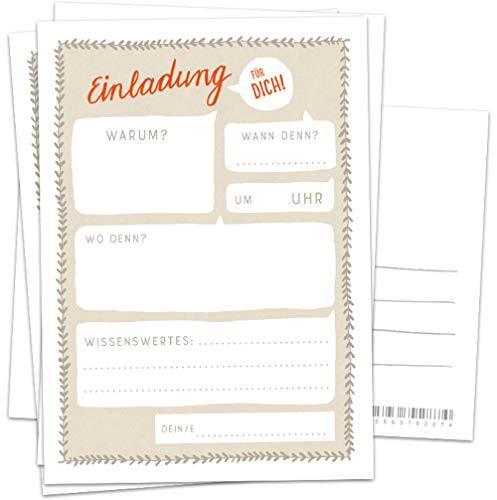 10 Einladungskarten - Einladung für dich - Beige Weiß Rot, Postkarten Einladungen zum Geburtstag, Party, Einzug, Abschluss, Abschiedsfest, retro Design mit Adressfeld