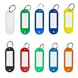 Vockvic 50 Piezas Llavero Etiquetas con Llaveros Plástico Equipaje De Etiquetas, Multicolo Etiquetas Llaveros para Hotel Escuela de Oficina Mascotas Identificación Equipaje 10 Colores