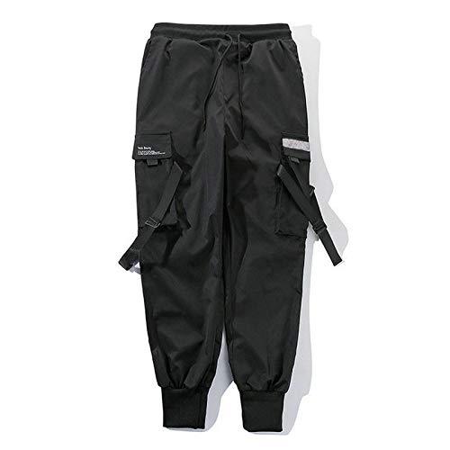 QNONAQ Pantalones de Carga Streetwear 2021 Hip Hop Pockets Casuales Pantalones de Calle de algodón Pantalones de Moda Masculinos (Color : Black, Size : X-Small)