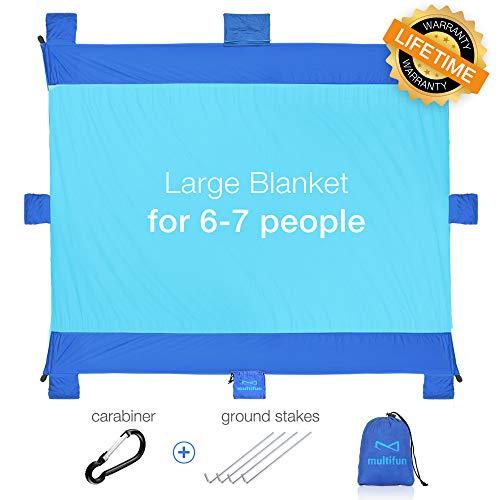 multifun Picknickdecke 220 x 180 cm stranddecke Wasserdicht Sandfrei Schnelltrocknend strandmatte sandabweisende Tragbare Camingmatte mit 4 Pfähle, Blau