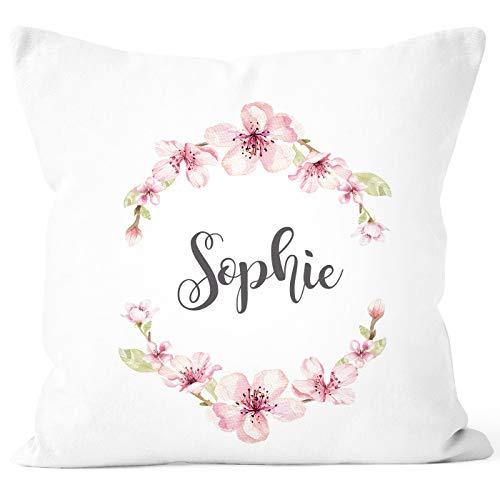 SpecialMe® Kissen-Bezug mit Namen Blumen Kissen-Hülle Namenskissen Baumwolle personalisierte Geschenke Dekokissen weiß Unisize