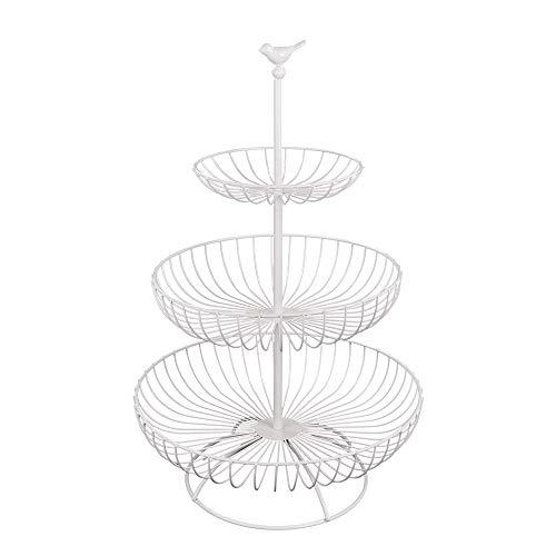 Apark Obst Etagere - 3 Stöckig Obstkorb für Mehr Platz auf der Arbeitsplatte - Metall Obstschale als Dekorativer Hingucker in Ihrer Landhaus-Küche,3 Ablagekörbe:30cm,24.5cm,16.5cm, Höhe:47cm (Weiß)