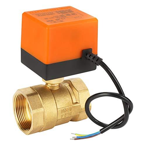 Bille motorizada CA 220 V, G1-1/2' 2 vías, 3 hilos, válvula de bola motorizada de latón válvula eléctrica de bola para aire acondicionado