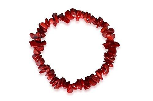 Bracciale in corallo, corallo naturale, pepite, rosso, 8-13mm