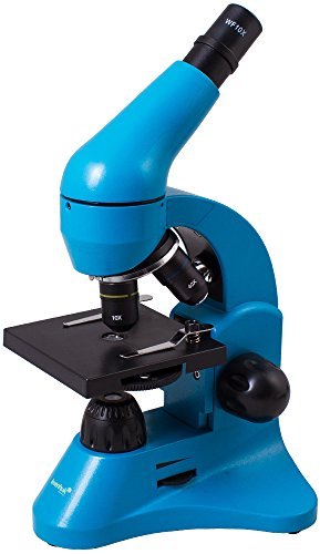 Levenhuk Rainbow 50L Azure Lightweight Student Microscope (40-800x) with Experiment Kit and Storage Case