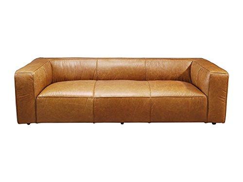 Vintage-Line Clubsofa Dublin Columbia Brown 3-Sitzer Sofa Couch Ledersofa Rindsleder Designsofa