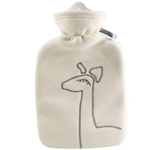 Hot Water Bottle with Cover - Hot Cold Pack Made of Burst Resistant Thermoplastic with Fleece Sleeve, Helps Relieve Muscle Aches & Pains, Menstrual Cramps, Flu Symptoms (1.8 L White Deer Application)