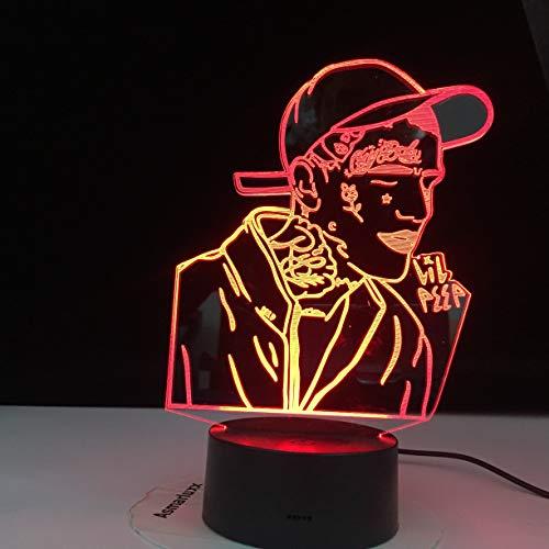 (Nur 1) Nordischer beliebter Rapper 3D LED Nachtlicht buntes Promi-Nachtlichtgeschenk für Heimdekorationsfans