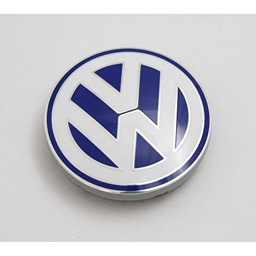 Volkswagen 1C0601171 09Z Nabenabdeckung (1 Stück) Alufelge Original Abdeckkappe blau weiß