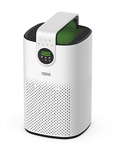 TOPPIN HEPA Air Purifiers for Home Bedroom up to 473.6 ft² TPAP003 with Fragrance Sponge, Child Lock, 3 Fan Speeds, H13 True HEPA Filter for 99.97% Pollen, Allergies, Pets Hair, Dander, Dust