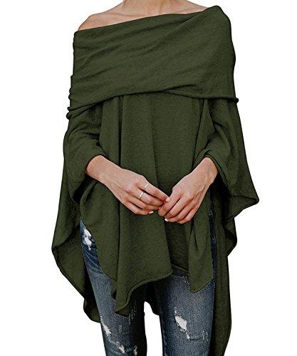 DEMO tunika damska z odkrytymi ramionami, nietoperz, nieregularne luźne ponczo bluzka tunika