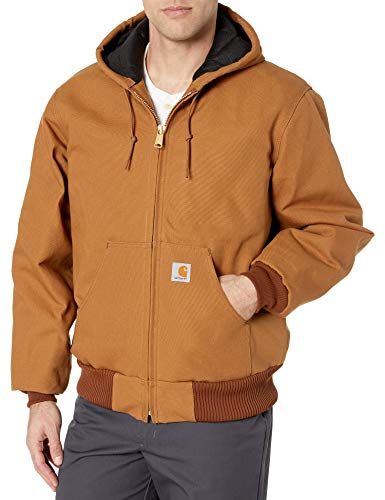 Carhartt Men's Quilted Flannel Lined Duck Active Jacket J140,Brown,Large