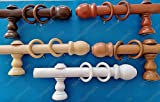 Tringle à rideau en bois, diamètre 35 mm, mouvement manuel, avec tous les accessoires, disponible en différentes couleurs et tailles 240cm noyer