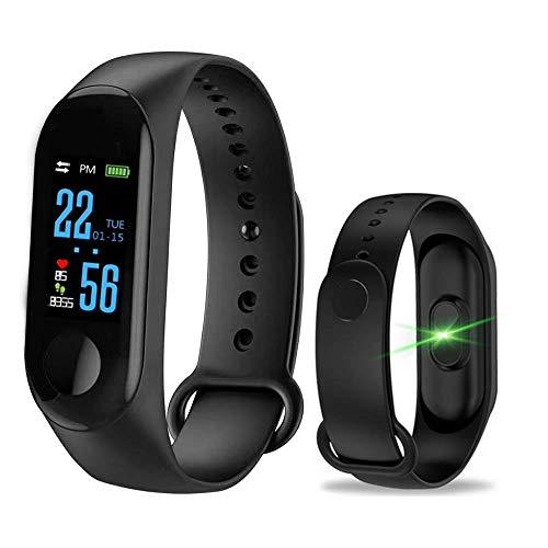 LEEBA Fitness Armband Schrittzähler mit Pulsmesser, Fitness Tracker Uhr Wasserdicht IP67 Blutdruckmesser GPS Stoppuhr Schrittzaehler für Kinder Damen Herren (schwarz)