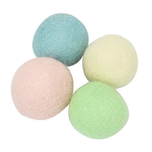 ZAIDEA 猫おもちゃ 猫 ボール 鈴入り 羊毛 フェルト 玩具 噛むおもちゃ ストレス 発散 (4個セット)