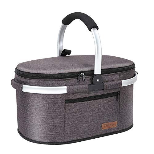 Liqing 32L Premium Kühltasche Picknicktasche Groß Faltbar Isoliertasche Picknickkorb Thermo Tasche Kühlkorb für Lunch Camping Reisen Einkauf (Taupe Grau)