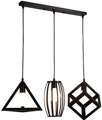 FEE-ZC Lámpara Colgante de 3 Cabezas, lámpara Colgante Industrial Retro de Hierro Forjado, lámpara de Techo Ajustable en Altura, polígono Hueco, Art Deco, cafetería, Restaurante