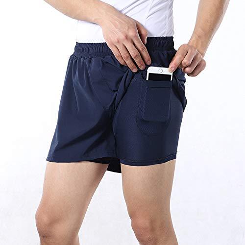 Pantalon Corto Deporte Hombre,Transpirable Cómodo Pantalones Cortos de Ciclismo,Primavera y Verano Culotes Ciclismo Hombre, para Correr Deportes al Aire Libre Pantalon Corto Mo(Size:XXL,Color:Azul)
