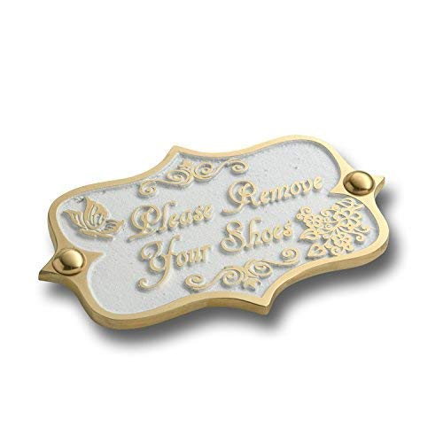 The Metal Foundry Please Remove Your Shoes Brass Door Sign. Vintage Shabby Chic Style Home Décor Wall Plaque Handmade UK.