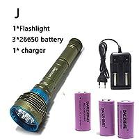 8000LMダイビング懐中電灯防水トーチ水中100メートルスキューバフラッシュライト戦術的な懐中電灯 屋外ハイキングキャンプ用 (Battery Type : ArmyGreen, Body Color : XML T6 White light)