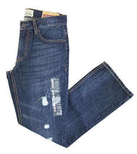 Aeropostale Mens Slim Boot Dark Wash Destructed Jeans 27W x 28L Blue
