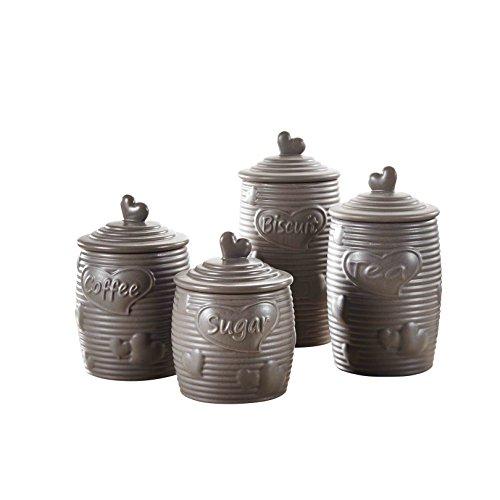 Contenitori con Coperchio da Cucina Ideale per t/è caff/è Dolci e Altro Ancora Pure.Lifestyle Set di 4 Barattoli in Ceramica Vasetti in Porcellana Zuccheriera