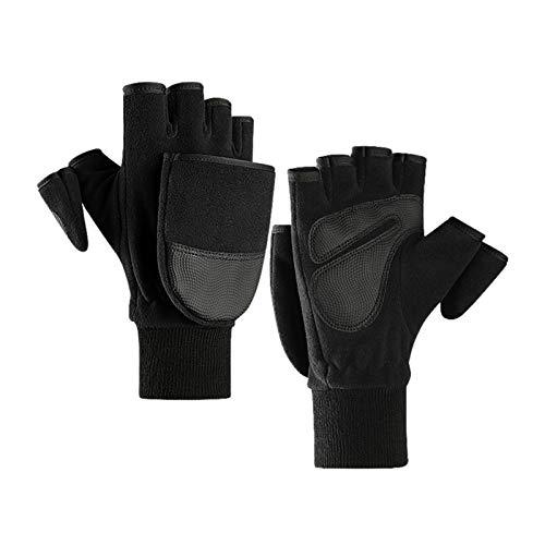 WGBHU 1PAIR Fleece Convertible Flip Mittens para Hombres Mujeres Fotografía Al Aire Libre Pesca Sin Finger Pantalla Táctil Guantes (Size : L)