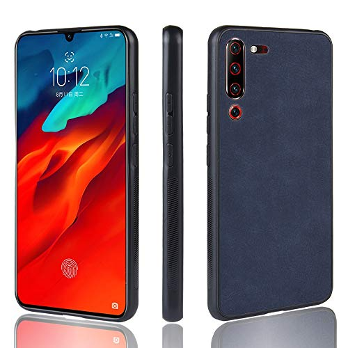 1XINGCHEN Cáscara del teléfono Estuche de Piel de Oveja a Prueba de choques PC + PU + TPU for Lenovo Z6 Pro (Negro) Funda Protectora (Color : Blue)