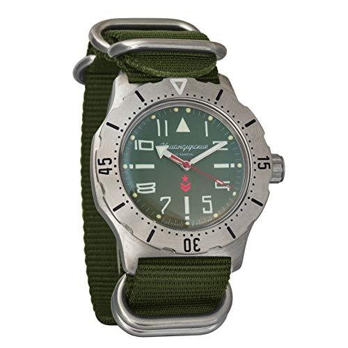 Vostok komandirskie K-35Coche Ejercicio automática Reloj de Pulsera Verde Militar Ruso Zulu OTAN Band # 350746