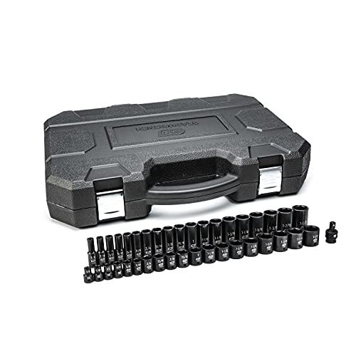GEARWRENCH 39 Pc. 1/2' Drive 6 Pt. Impact Socket Set, Standard & Deep, SAE - 84947N, Black