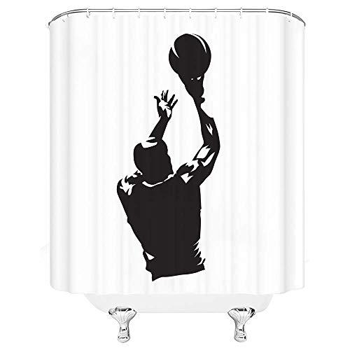 N\A Sport Duschvorhang Bay Shooting Einfache Schwarz-Weiß-Badvorhänge Dekor Polyester Stoff Schnelltrocknen Inklusive Haken